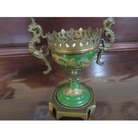 Mini Ânfora Em Porcelana Europeia Séc.xix Dragões Em Bronze