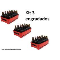Kit 3 Engradado Grade Caixa 15 Vasilhame Cerveja 300 Ml Verm