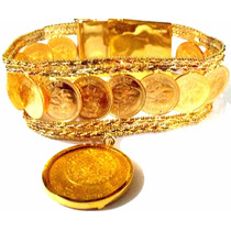 Fina Pulsera Oro Macizo 14k & 22k Peso 70grs. Azteca De Oro.