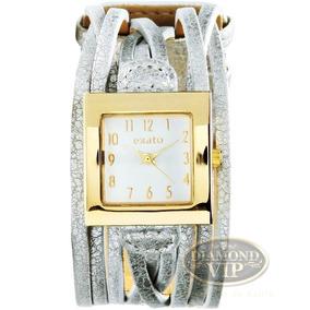 Relógio Feminino Couro Exato Bracelete Dourado Prata