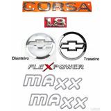 Kit Emblemas Corsa Sedan 1.8 Flex + Maxx Prata - 2003 À 2007