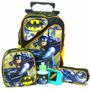 Kit Mochila Infantil Batman 2 Bolsos Rodinhas + Lancheira