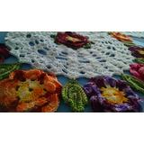 Caminho/trilho De Mesa Em Crochê - Flores Coloridas
