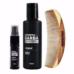 Kit Barba Comprida = Shampoo + Óleo + Pente De Madeira U
