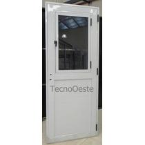 Puerta Exterior Aluminio Blanco 1/2 Vidrio De Abrir!! 90x200