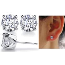 Hermosos Broqueles Oro 10k Macizo Blanco 38pts Diamante Ruso