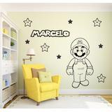 Adesivo Decorativo Mário Bros + Nome + Cartela De Estrela
