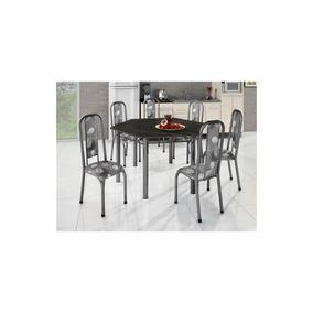 Conjunto Madmelos 6 Cadeiras Tampo Ardósia Sextavada