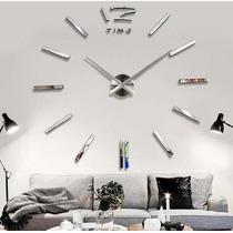Reloj Grande De Pared Decorativo Sticker 3d Espejo 120 Cms