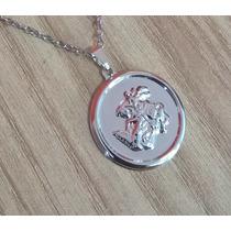 Corrente Colar 100% Aço Inox Medalha São Jorge