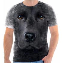 Camisa Camiseta 3d Animal Cachorro Dog Labrador Preto Black