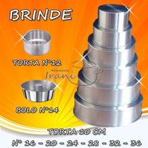 Forma Para Bolo Torta 10 Cm Em Alumínio Kit 6 Pçs + Brindes