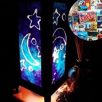 Blue Star Luna Noche Tabla Iluminación Lámpara Sombras Plant