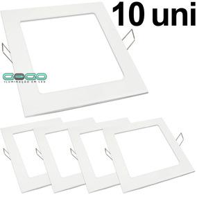 Kit 10 Painel Plafon 18w Led Embutir Quadrado Frio Luminaria