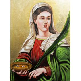 Quadro Santa Luzia Pintura Ícone Óleo Sobre Tela 30x40cm