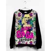 Blusa Moletom Canoa Feminina Tumblr Lady Gaga Artpop