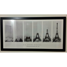 Cuadro Torre Eiffel Marco Chato 4cm Negro O Blanco