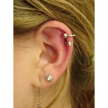Piercing Orelha Cartilagem Twister Folheado Ouro Com Strass