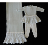 Saída De Maternidade Petit Mouton Vestido Com Renda