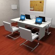 Mesa De Reunion Blanca Muebles / Muebles De Oficina