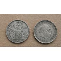 Moneda De España 50 Pesetas Franco 1957 Estrella 58