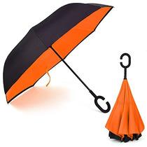 Rainlax Paraguas Invertido Doble Capa Impermeable Anti Uv Pr