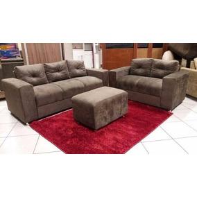 Oferta Sofa 3x2 Lugares De Luxo Com Puf Marrom, Cinza Etc..
