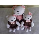 4 Ursinhas Marrom E Rosa Em Tecido