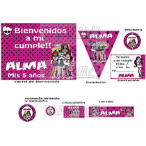 Kit Cumpleaños Y Candy Monster High Personaliz. Impreso