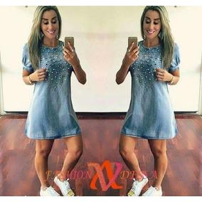 Vestido Jeans Aplicações E Perolas Verão Vestelegging 2017