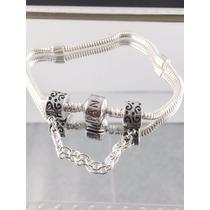 Pulseira Pandora Prata Maciça 925 Com Trava Pega Ladrão