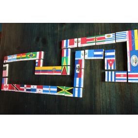 Domino Banderas América 27 Piezas Madera País Y Capital Sma