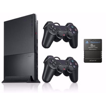 Ps2 Slim Destravad___semi-novo + 2 Controles Sony Originais