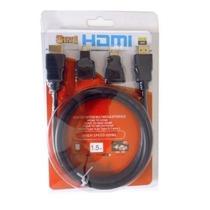 Cabo Hdmi 1.8 Metros Preto+2 Adaptadores 1 Micro+1 Mini Hdmi