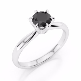 Anillo De Oro 14k Y Diamante Negro Natural Redondo De .50ct.