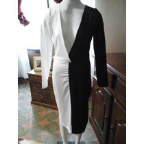 Sexy Vestido Negro Y Blanco Lycra Oferta $ 890