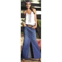 Falda Casual Azul Elaborada En Jean Procesado