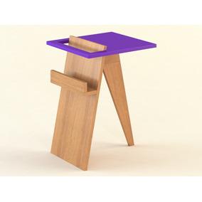 Mesa De Luz Nórdica Madera/violeta Tasi - 0,45x0,40x0,60