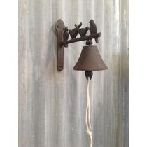 Campana Llamador De Metal Con Soporte Pajaritos