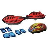 Skate 2 Rodas Waveboard Rocking Surf Nas Ruas + Kit Proteção