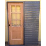 Puerta Placa Corrediza Cedro 1/2 Vidrio Repartido 70x200 Cm
