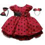 Vestido Infantil Festa Minnie Joaninha Vermelho E 2 Tiaras