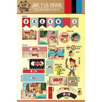Kit Imprimible Personalizado Jake Pirata Candy Bar Y Deco!