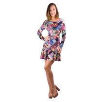 Vestido Visco Costa De Fora Banna Hanna Floral Multicolor