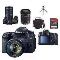 Câmera Canon Eos 70d Com Lente 18-135 Stm+bolsa+tripé+32gb