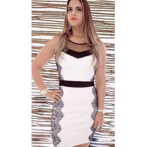 Vestidos Femininos De Festa Curto Branco Com Tela E Renda