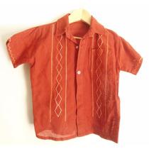 Camisa Guayabera Color Ladrillo Nene -talle 3 Años Kgz