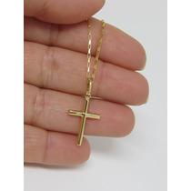 Corrente Cartier De 70cm Pingente Crucifixo Ouro 18k Maciço