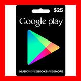 Google Play Gift Card $25 Android Smartphone Tarjeta Recarga
