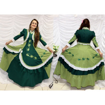 Vestido De Prenda Gaúcha Adulto P À Xxg Mod. Cristina